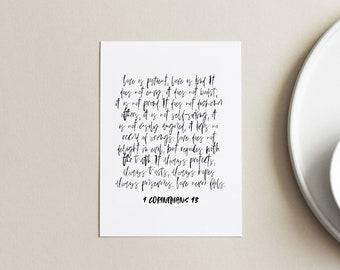 LOVE | 4 x 6 art print, Love quote mini, Black owned business, Bible verse art PRINT, 1 Corinthians 13 verse