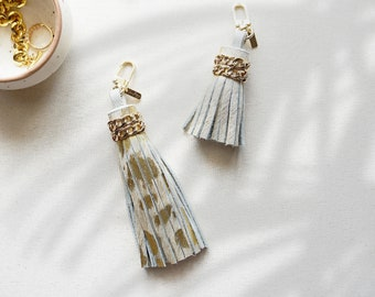 Gold Leather tassel keychain, hair on leather charm, Luxe leather accessory, Gifts for her,  white leather key fob, Leather Purse Tassel