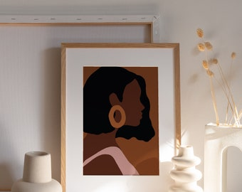 SADE   Black woman art print, African American art, Digital download, Printable wall art, Giclée poster, black owned business