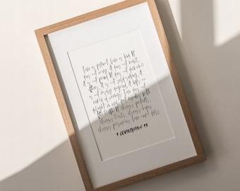 LOVE | Bible verse art PRINT, PRINTABLE, Love quote canvas, 1 Corinthians 13 verse, Digital Download