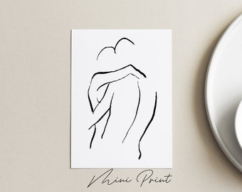 LOVERS Mini. 4 x 6 art print, sketch print, Modern couple art, Minimalist art print, Black owned business