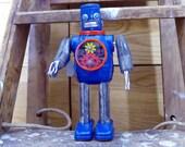Hex Head Robot Clockwork Horikawa Metal House Tin Vintage Japan Space Toy