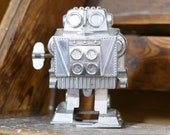 Mini Walking Robot Vintage TPS Wind-Up Japan Space Toy