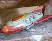 Spaceship X-2 Friction Rocket Masudaya Vintage Tin Japan Space Toy