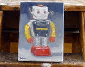 Robot Mike Painting Vintage Tomy Cragstan Japan Tin Space Toy Henry Kondracki