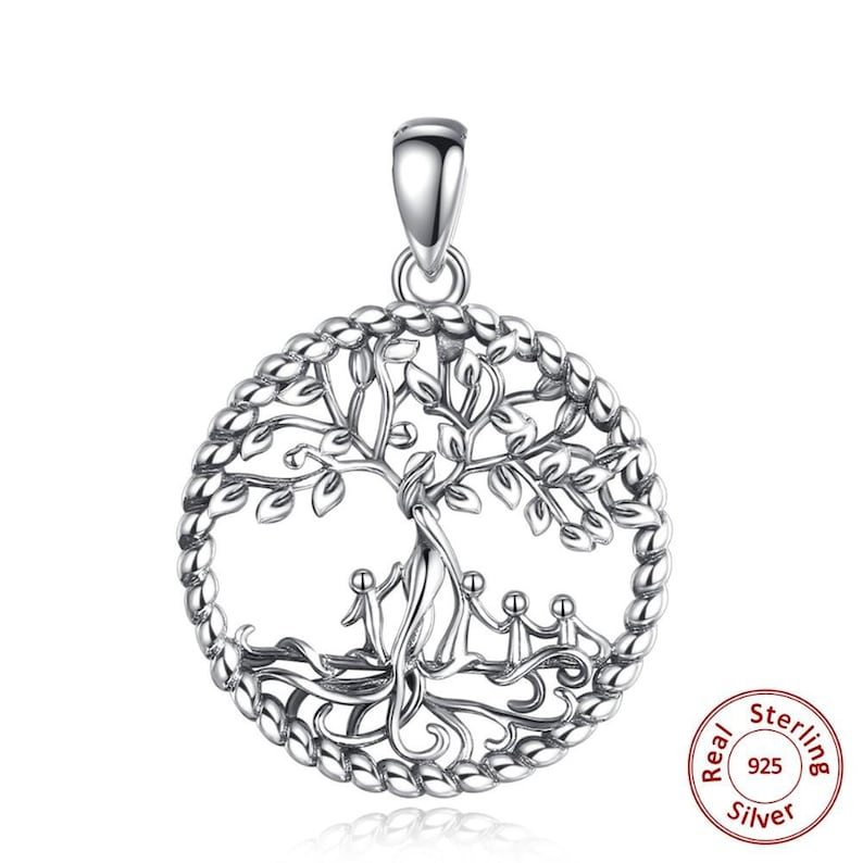 Sterling Silver Tree of Life Women and four cute baby style Pendant with box Jewelry Gift for Grandma mom
