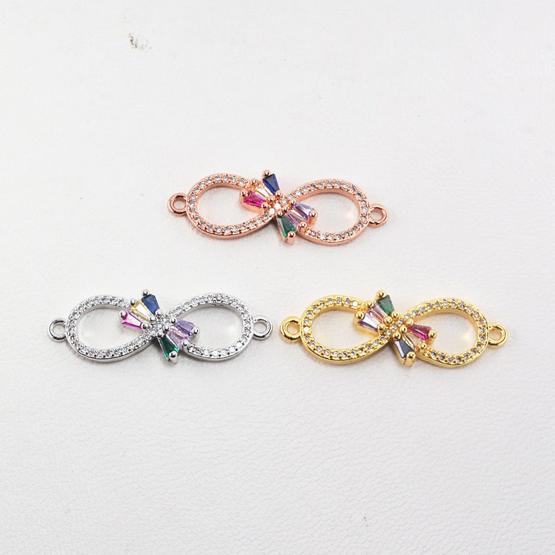 Real Plated Brass 6Pcs GoldSilverRose Gold CZ Micro Pave Bowknot Connectors Rainbow Rhinestone Charm