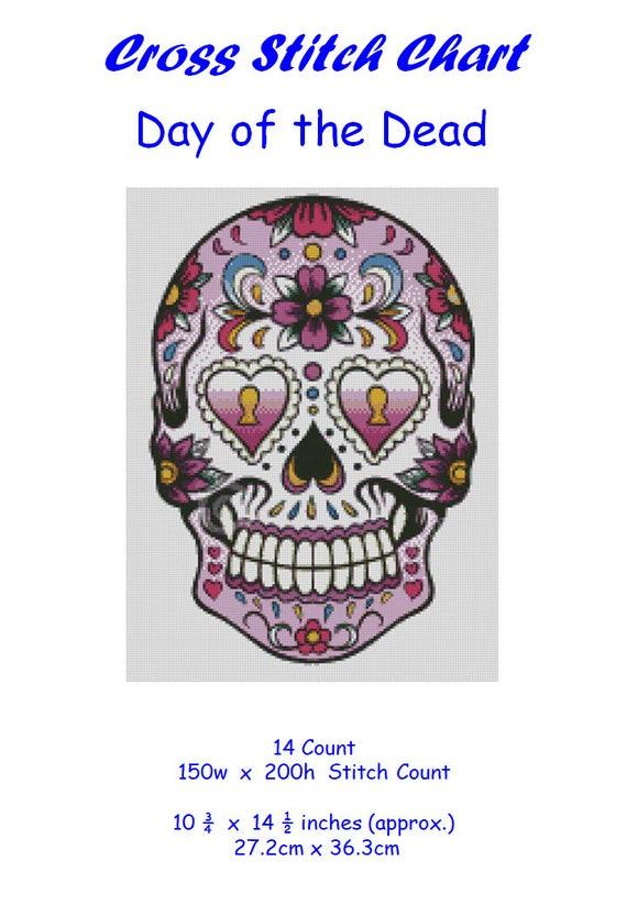 Day of the dead Skull Calavera #33 pattern Sugar Cross stitch chart