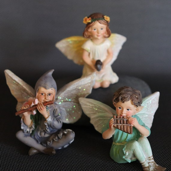 Garden Fairies Seated Pixie Boys Figurines 3 Styles Etsy