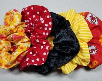 KC Chiefs Scrunchie Mickey//Scrunchies for Hair//Kansas City Chiefs Hair Accessories