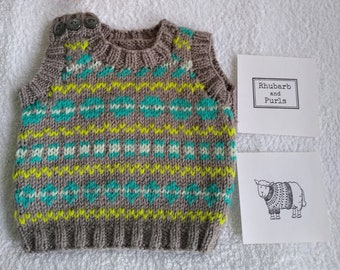 Hand knitted baby pullover. 0- 6 month size. Ideal new baby gift