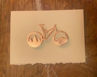 Copper magnet greeting card Mountain bike
