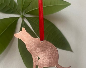 Copper dog pooping silhouette ornament 2020 Dog poop