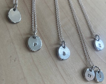 Initial pendant initial necklace sterling silver necklace small