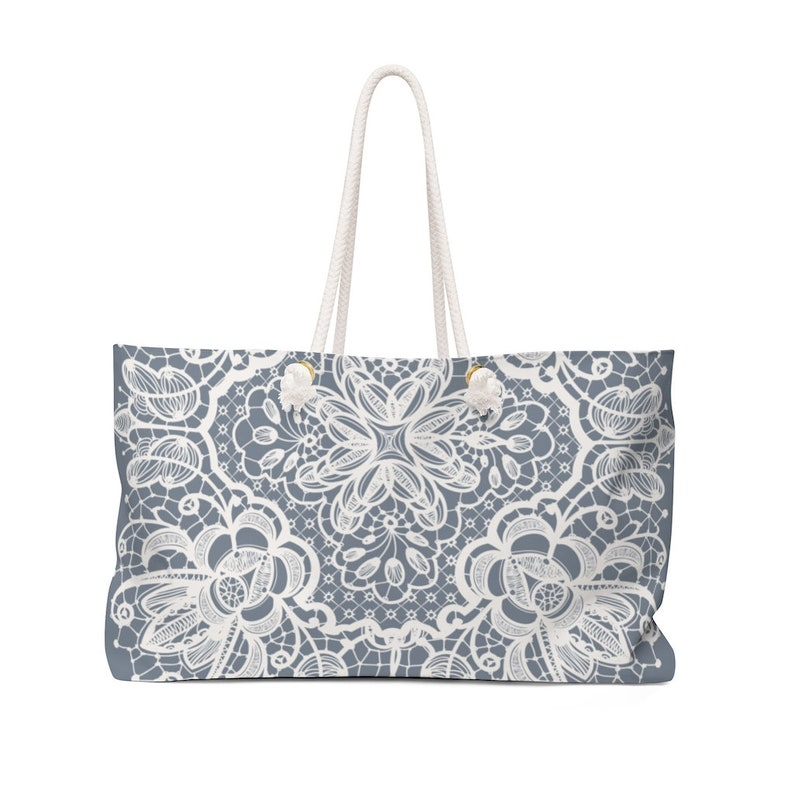 BlueGray Lace Pattern Weekender Bag Get outta town!