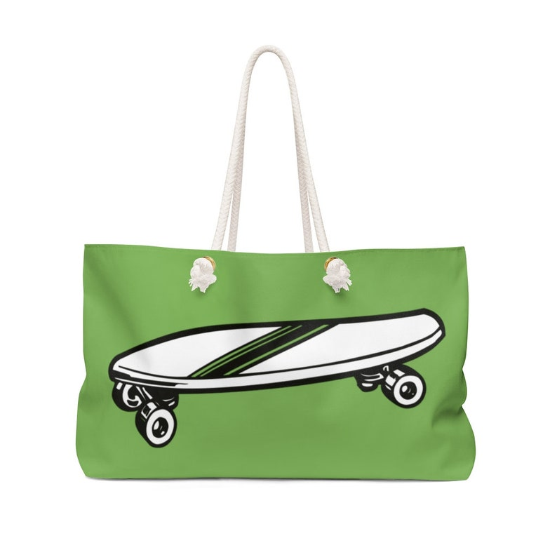 Let/'s Go on a Trip! Retro Skateboard BROWN Weekender Bag
