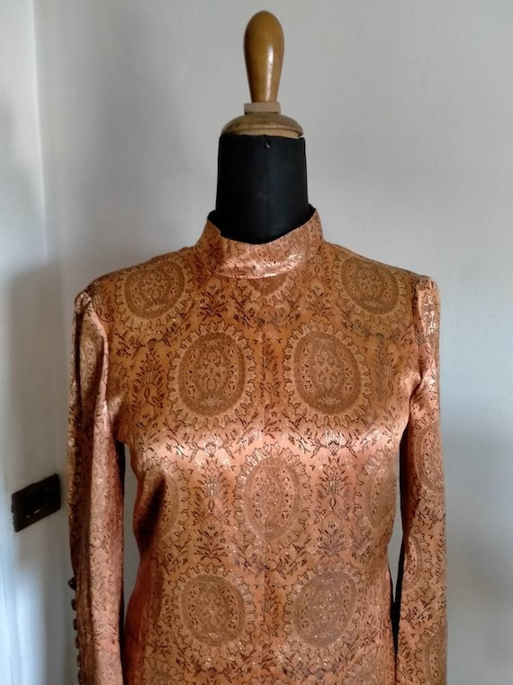 Vintage evening dress 70s, laminated fabric, large