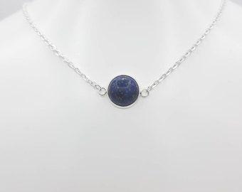 lapislazuli crystal pendant dots and small moonstone brass spirals