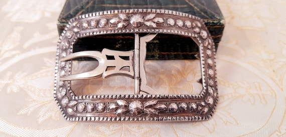 BIG Antique French Solid Silver Buckle. 1800s. Vin