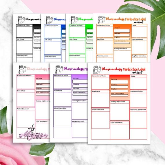 Pharmacology Printable Worksheets For Nursing School Etsy