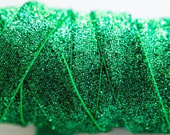 1 Hunter Green 58 Glitter Elastic Glitter Foldover Elastic Elastic by the yard 3 or 5 Yard Glitter Elastic
