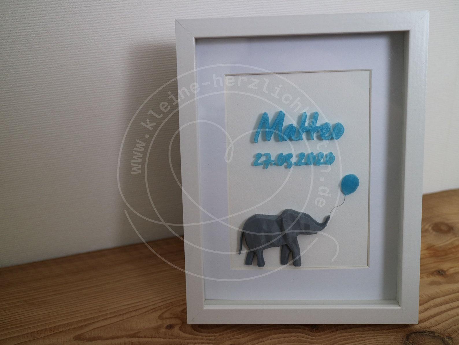 elefant mit luftballon bild zur geburt taufe  etsy