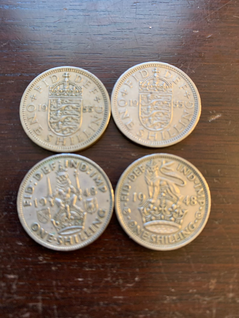 2 1955 FREE SHIPPING!!!!!! 2 1948 Beautiful Lot of 4 One Shilling Coins