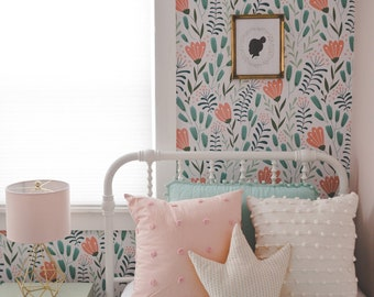 Removable Floral Wallpaper | Coral Flowers | Made to Order Peel and Stick Wallpaper