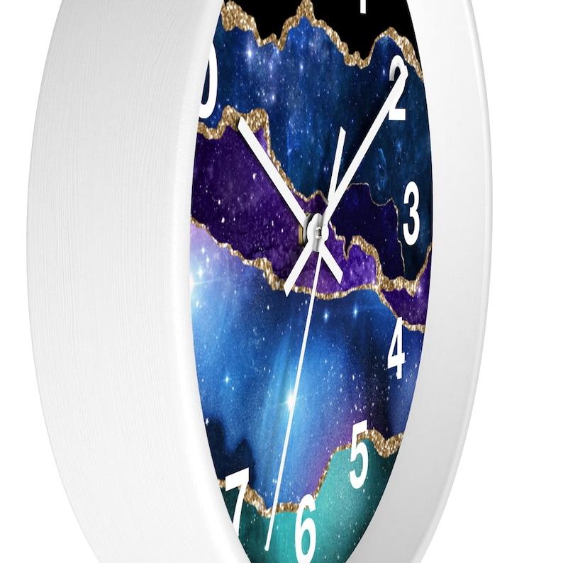 Minimalist Fancy Elegant Glitter Office Wall Clock Abstract Wood Wall Clock,10 Galaxy Blue Green Marble Agate Kitchen