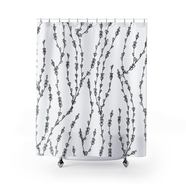 Pencil Drawing One Line Art Abstract Fabric Shower Curtain Floral Botanical Boho bathroom set