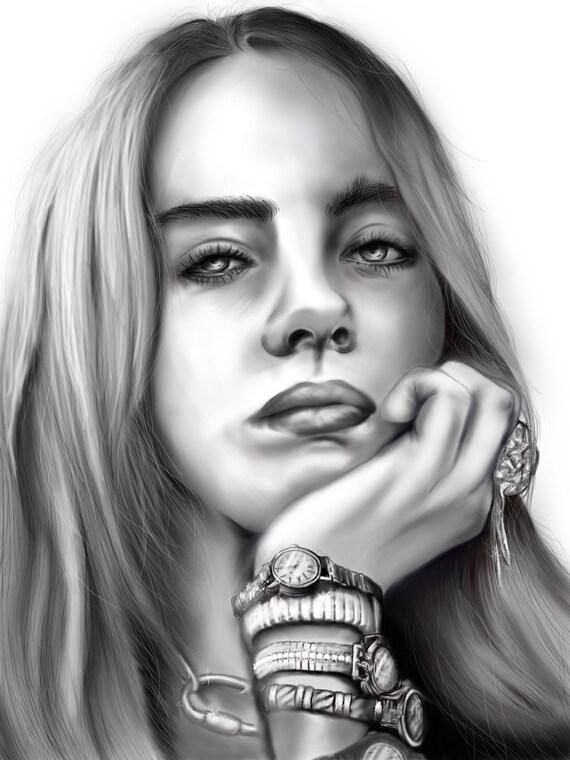 Billie Eilish Black And White Portrait Etsy