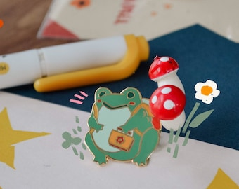 Froggy Pin - cute accessory pin badge kawaii fashion stationery illustration
