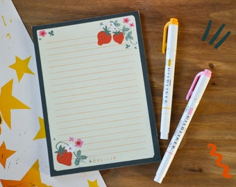 Strawberry Patch notepad - cute strawberry cottagecore stationery illustration memo pad