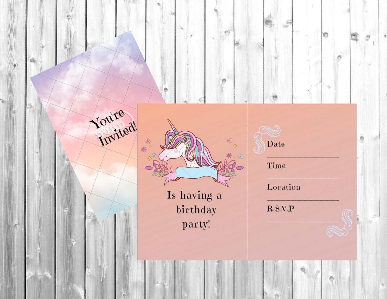Printable Unicorn Invitations Page Twelve