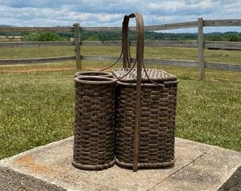 Vintage Wicker Picnic Basket with Double Wine Bottle Holders