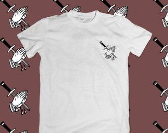 Praying Knife Embroidered Unisex T-shirt
