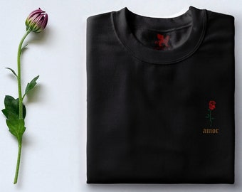 Amor Flower Embroidered Unisex T-shirt or Champion longsleeve