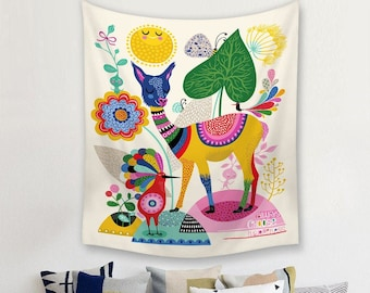 Polyester Alpaca Mariage Toile De Fond Wall Hanging Tapestry Hanger Art Home Decor