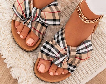 Women's slippers, bow, checkered, Flip-flops, casual, open, multicolored, indoor, outdoor, home