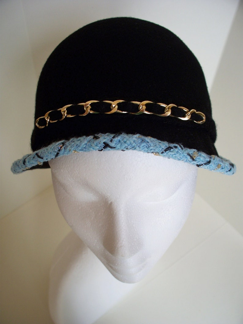 Simone Wool felt hat with boucle trim and woven felt chain