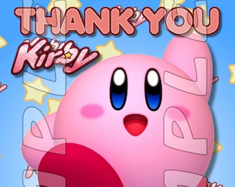 Kirby Personalized Birthday Party 4x6 Thank You Cards Kirby personalized Thank You Cards #1