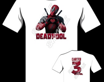 DEADPOOL T-shirt Comedy Sports Tee Top retro  Mens Womens Funny Hero white