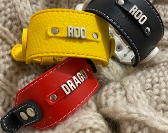 Personalized wide  dog collar for Italian greyhounds and whippets . Faux leather dog collar. Eco leather .