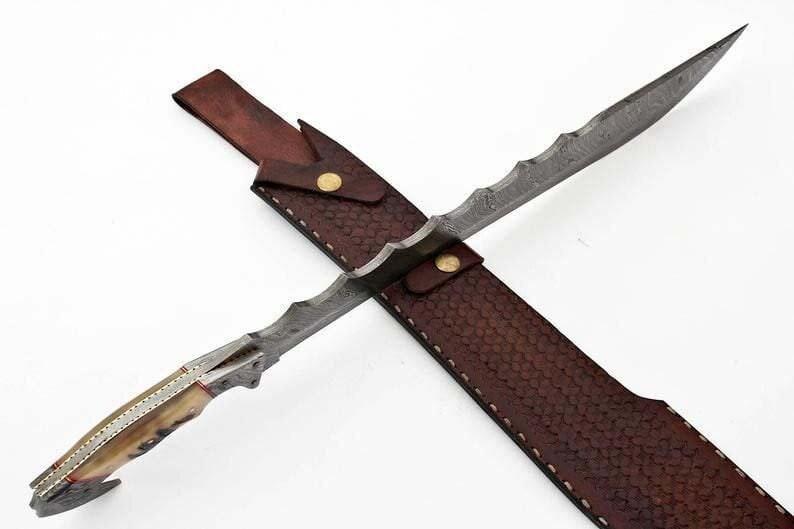 Custom Handmade DAMASCUS STEEL SWORD with leather sheath
