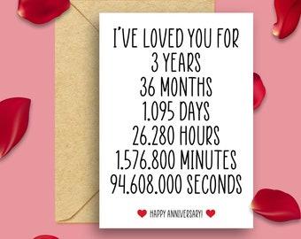 3rd Anniversary Card, 3 Year Anniversary Card, 3 Years Married Card, 3 Years Of Marriage Card, 3 Years Together, 3rd Anniversary Card Him