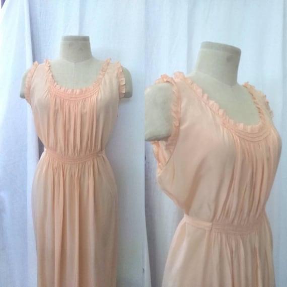 Glamorous 50's Peache Silk Long Nightgown Slip Dre