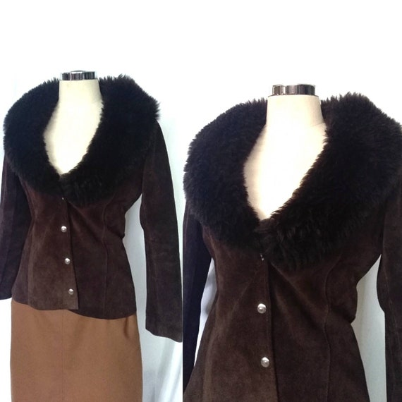 Vintage 70s Brown Suede and Shearling Penny Lane B