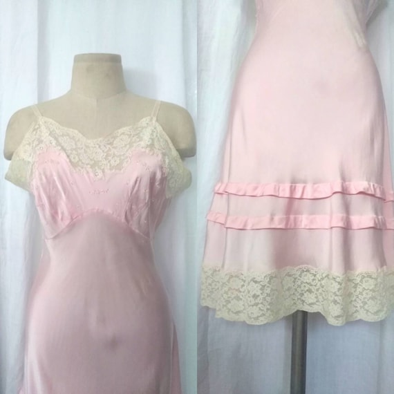Glamorous 50's Pink Satin and Lace Slip Dress, Und