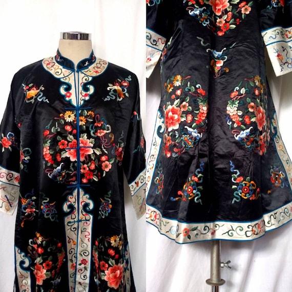 Vintage Black Satin Embroidered Chinese Robe, Kimo