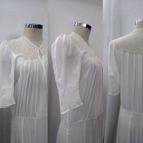Vintage 1930s Rayon and Lace Long White Dress, Mut